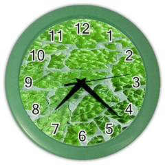 Festive Chic Green Glitter Shiny Glamour Sparkles Color Wall Clocks by yoursparklingshop