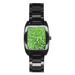 Festive Chic Green Glitter Shiny Glamour Sparkles Stainless Steel Barrel Watch by yoursparklingshop