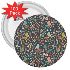 Vintage Flowers And Birds Pattern 3  Buttons (100 Pack)  by TastefulDesigns