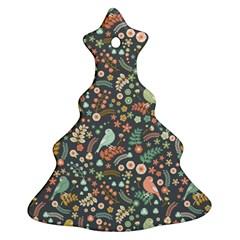Vintage Flowers And Birds Pattern Ornament (christmas Tree) by TastefulDesigns