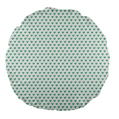 Sea Green Small Hearts Pattern Large 18  Premium Flano Round Cushions by CircusValleyMall