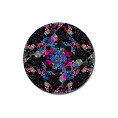 Stylized Geometric Floral Ornate Magnet 3  (round) by dflcprints