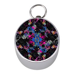 Stylized Geometric Floral Ornate Mini Silver Compasses by dflcprints