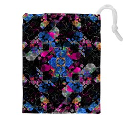 Stylized Geometric Floral Ornate Drawstring Pouches (xxl) by dflcprints