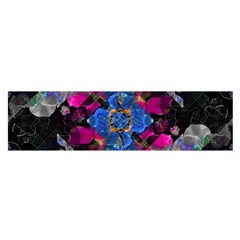 Stylized Geometric Floral Ornate Satin Scarf (oblong) by dflcprintsclothing