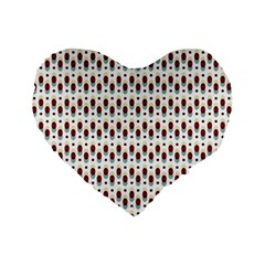 Geometric Retro Patterns Standard 16  Premium Flano Heart Shape Cushions by TastefulDesigns