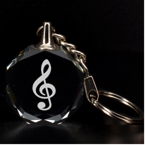 Engraved Treble Clef Key Chain By Rd   3d Engraving Circle Key Chain   Cr10mv8ngt1r   Www Artscow Com Front