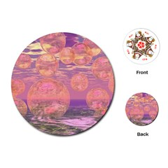 Glorious Skies, Abstract Pink And Yellow Dream Playing Cards (round)  by DianeClancy