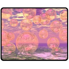 Glorious Skies, Abstract Pink And Yellow Dream Fleece Blanket (medium)  by DianeClancy