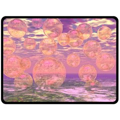 Glorious Skies, Abstract Pink And Yellow Dream Double Sided Fleece Blanket (large)  by DianeClancy