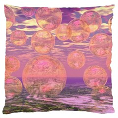 Glorious Skies, Abstract Pink And Yellow Dream Large Flano Cushion Case (one Side) by DianeClancy