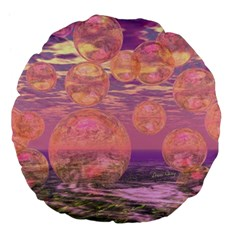 Glorious Skies, Abstract Pink And Yellow Dream Large 18  Premium Flano Round Cushions by DianeClancy