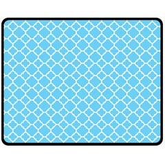 Bright Blue Quatrefoil Pattern Double Sided Fleece Blanket (medium) by Zandiepants