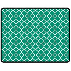 Emerald Green Quatrefoil Pattern Fleece Blanket (medium) by Zandiepants
