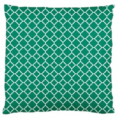 Emerald Green Quatrefoil Pattern Standard Flano Cushion Case (two Sides) by Zandiepants