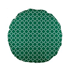 Emerald Green Quatrefoil Pattern Standard 15  Premium Flano Round Cushion  by Zandiepants