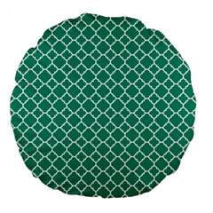 Emerald Green Quatrefoil Pattern Large 18  Premium Flano Round Cushion  by Zandiepants