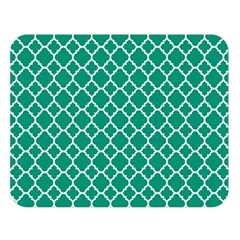 Emerald Green Quatrefoil Pattern Double Sided Flano Blanket (large) by Zandiepants