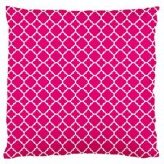 Hot Pink Quatrefoil Pattern Large Cushion Case (one Side) by Zandiepants