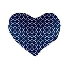 Navy Blue Quatrefoil Pattern Standard 16  Premium Heart Shape Cushion  by Zandiepants