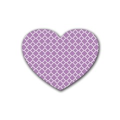 Lilac Purple Quatrefoil Pattern Heart Coaster (4 Pack) by Zandiepants