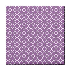 Lilac Purple Quatrefoil Pattern Face Towel by Zandiepants