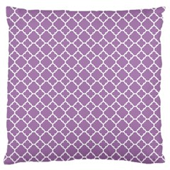 Lilac Purple Quatrefoil Pattern Large Flano Cushion Case (two Sides) by Zandiepants