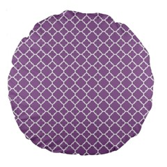 Lilac Purple Quatrefoil Pattern Large 18  Premium Flano Round Cushion  by Zandiepants