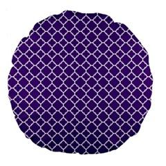Royal purple quatrefoil pattern Large 18  Premium Flano Round Cushion  by Zandiepants