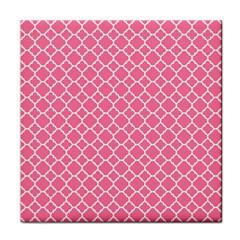 Soft Pink Quatrefoil Pattern Face Towel by Zandiepants
