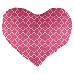 Soft Pink Quatrefoil Pattern Large 19  Premium Flano Heart Shape Cushion by Zandiepants