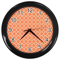 Tangerine Orange Quatrefoil Pattern Wall Clock (black) by Zandiepants