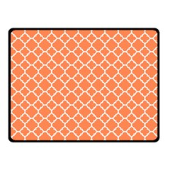 Tangerine Orange Quatrefoil Pattern Fleece Blanket (small) by Zandiepants
