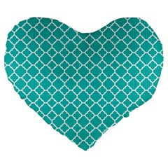 Turquoise Quatrefoil Pattern Large 19  Premium Flano Heart Shape Cushion by Zandiepants
