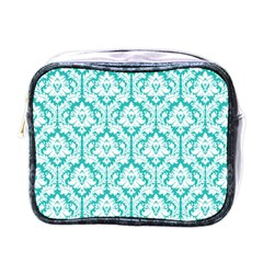 Turquoise Damask Pattern Mini Toiletries Bags by Zandiepants