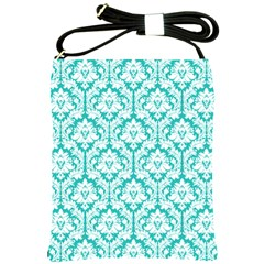 Turquoise Damask Pattern Shoulder Sling Bags by Zandiepants