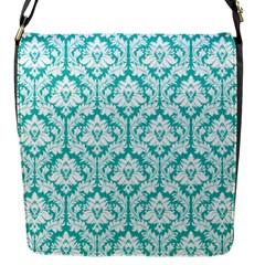 Turquoise Damask Pattern Flap Messenger Bag (s) by Zandiepants