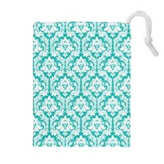 Turquoise Damask Pattern Drawstring Pouches (Extra Large) by Zandiepants