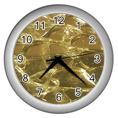 Gold Bar Golden Chic Festive Sparkling Gold  Wall Clocks (silver)  by yoursparklingshop