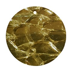 Gold Bar Golden Chic Festive Sparkling Gold  Round Ornament (two Sides)  by yoursparklingshop