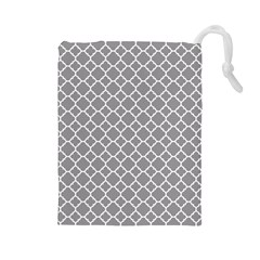 Grey Quatrefoil Pattern Drawstring Pouch (large)