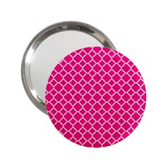 Hot Pink Quatrefoil Pattern 2 25  Handbag Mirror