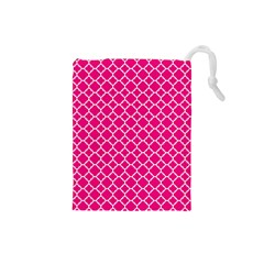 Hot Pink Quatrefoil Pattern Drawstring Pouch (small) by Zandiepants