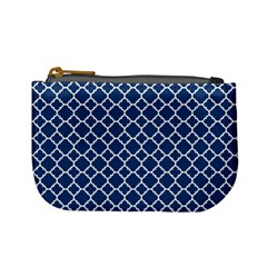 Navy Blue Quatrefoil Pattern Mini Coin Purse by Zandiepants