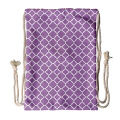 Lilac Purple Quatrefoil Pattern Drawstring Bag (large) by Zandiepants