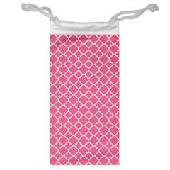Soft Pink Quatrefoil Pattern Jewelry Bag by Zandiepants