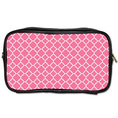 Soft Pink Quatrefoil Pattern Toiletries Bag (two Sides) by Zandiepants