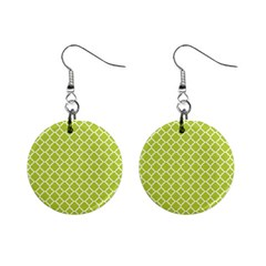 Spring Green Quatrefoil Pattern 1  Button Earrings by Zandiepants