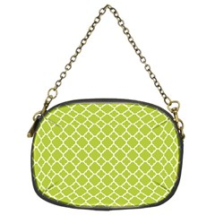 Spring Green Quatrefoil Pattern Chain Purse (Two Sides) by Zandiepants