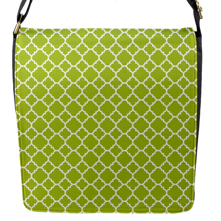 Spring Green Quatrefoil Pattern Flap Closure Messenger Bag (S)
